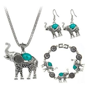 Jewelry - Elephant 3pc Necklace, Bracelet & Earrings